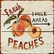 """Barnyard Designs Fresh Peaches Retro Vintage Tin Bar Sign Country Home Decor 11"""" x 11"""""""