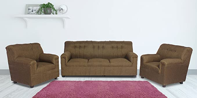 Guarented Jute Fabric Upholstered 3 1 1 Seater Sofa Set Brown Amazon In Home Kitchen
