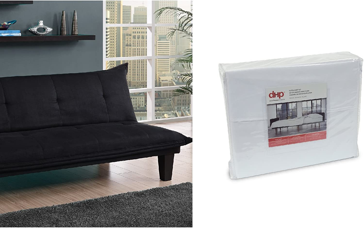 DHP Lodge Convertible Futon Couch Bed, Black and Futon Sheet Set, White