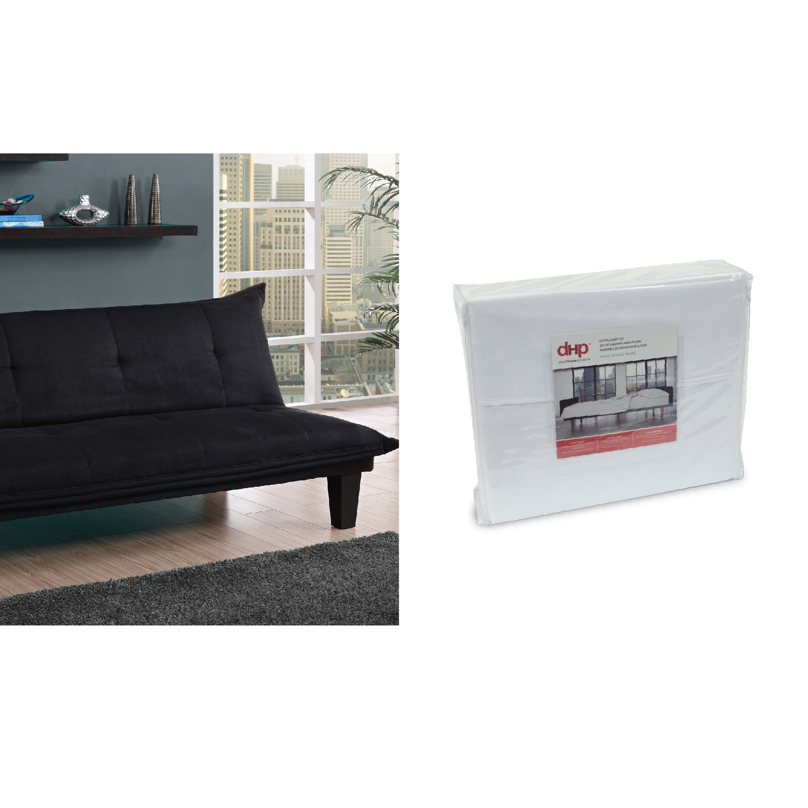 DHP Lodge Convertible Futon Couch Bed, Black and Futon Sheet Set, White by DHP
