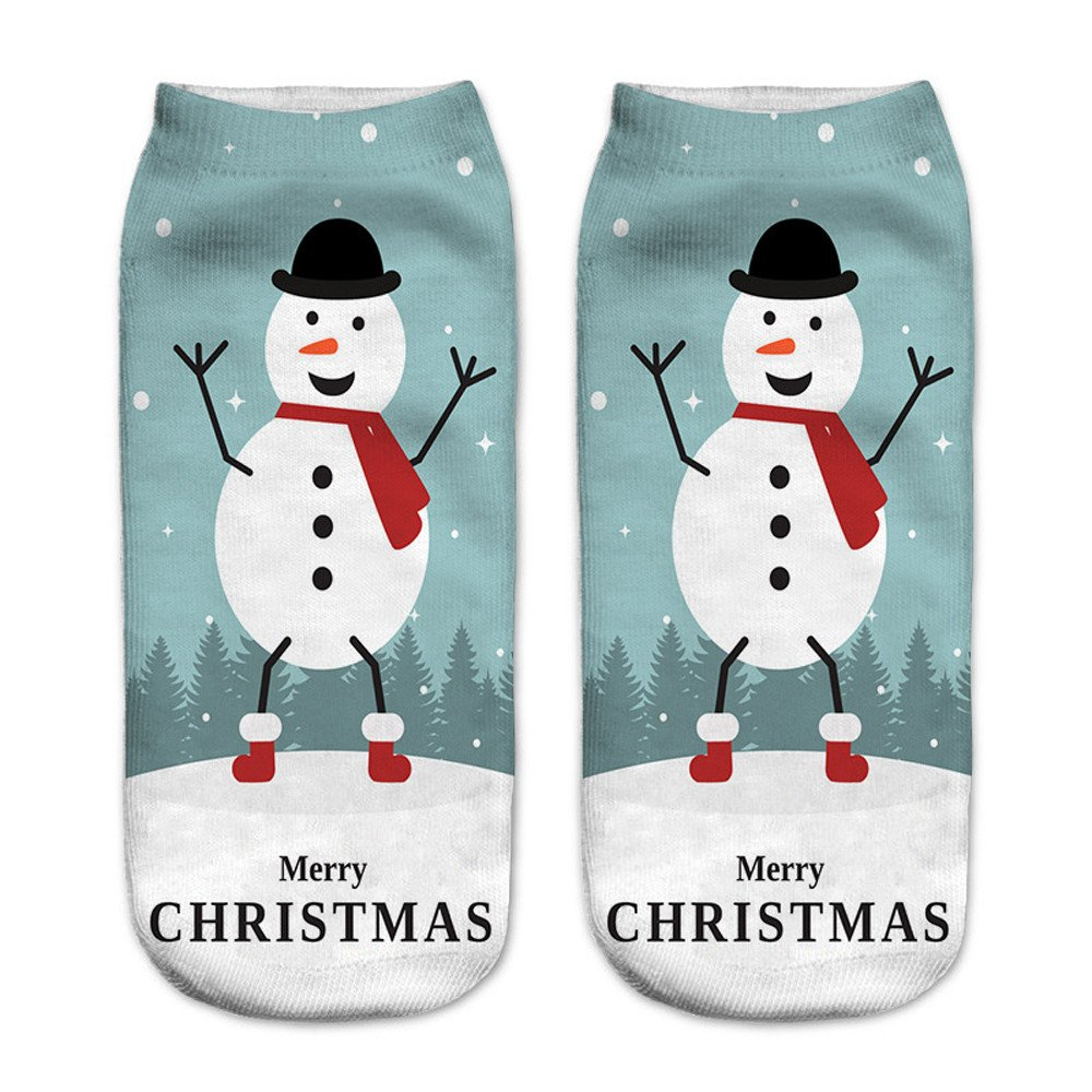Charberry Clearance Unisex Santa Claus 3D Printed Christmas Casual Socks Low Cut Ankle Socks (F)