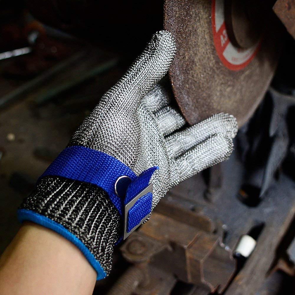 JVSISM Blu Sicurezza Tagliare Prova pugnalata Resistente Acciaio inossidabile Maglia macellaio Guanto alto Prestazione Livello 5 Protezione Dimensione S