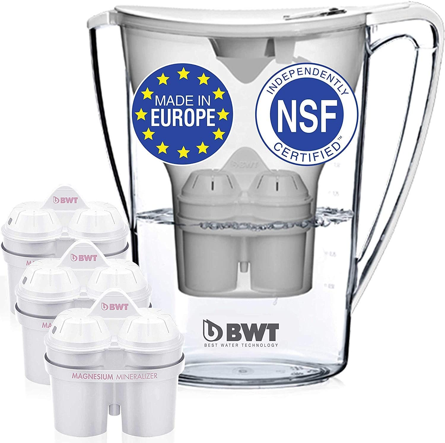 Award Winning Austrian Quality BWT Premium Water Filter Pitcher With 3 Bonus 60 Day Filters Blue Technology For Superior Filtration /& Taste