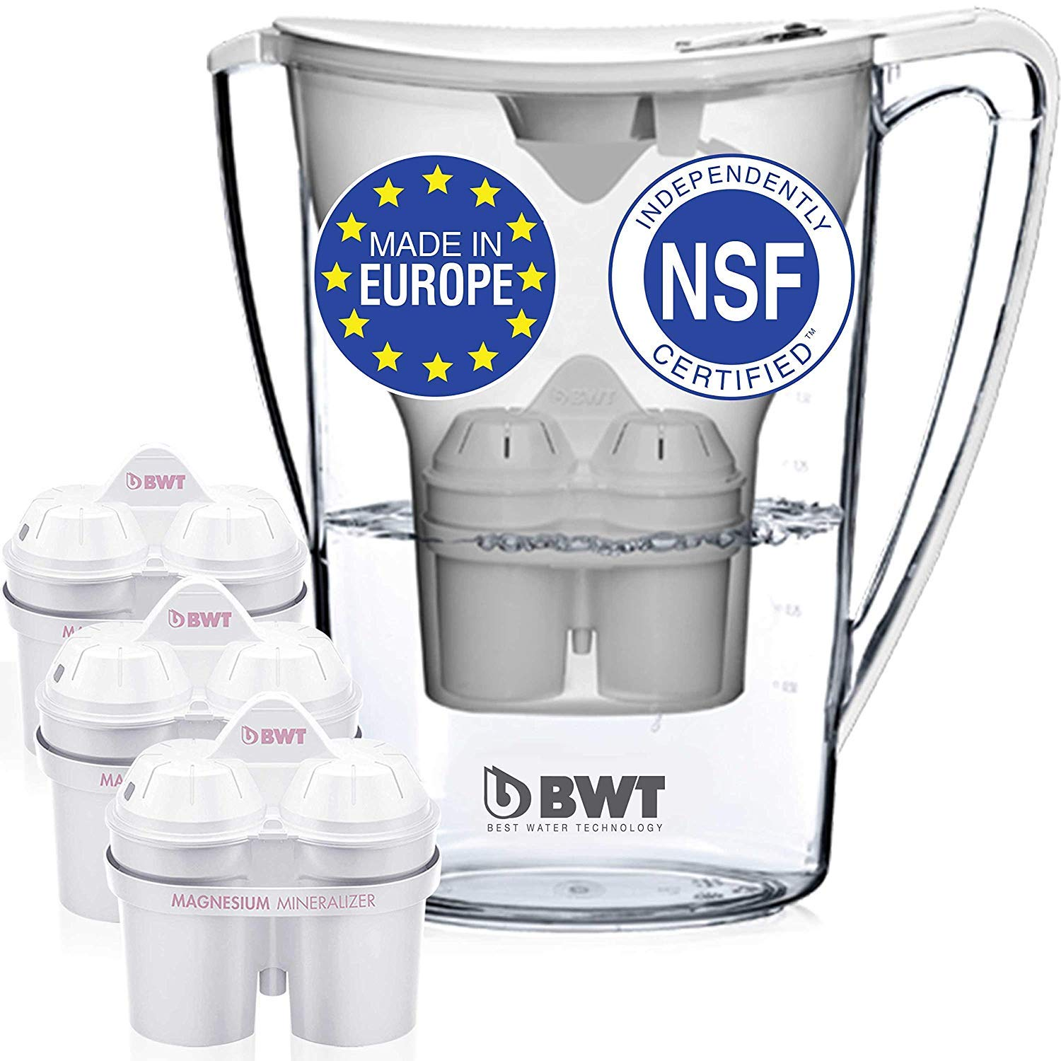 BWT Premium Water Filter Pitcher & 3 Filters, Award Winning Austrian Quality, Technology For Superior Filtration & Taste by BWT Designer Austrian Quality Water Filter Pitcher