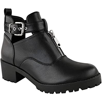 f0961fa8deb Fashion Thirsty New Womens Ladies Black Cut Out Chunky Ankle Boots Zip Low  Block Heel Shoes Size by Heelberry: Amazon.co.uk: Shoes & Bags