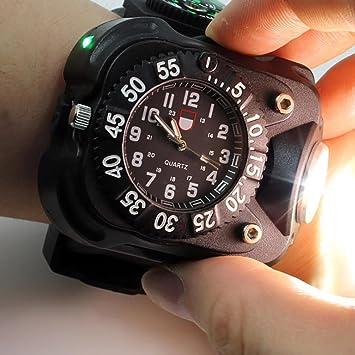 2c0198b2ec Aupooe 充電タイプ LED懐中電灯 3W 強力 ライト 200ルーメン リストライト ウォッチ 腕時計型