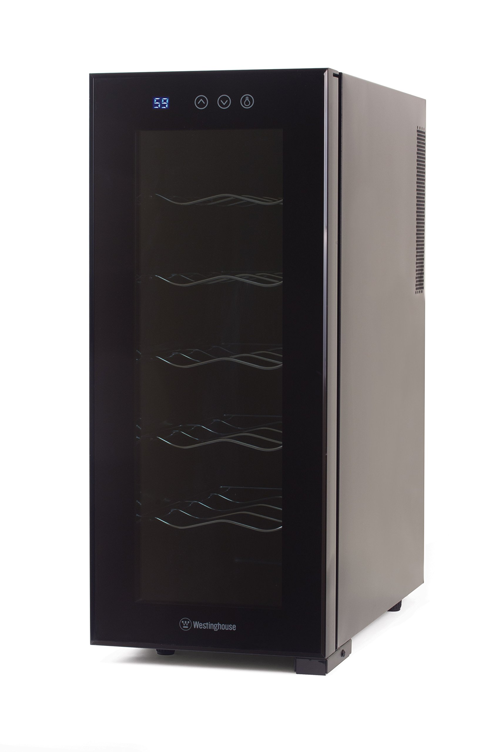 Westinghouse WWT120TB Thermal Electric 12 Bottle Wine Cellar with Touch Panel Adjustable Thermostat and Digital Read Out, Black