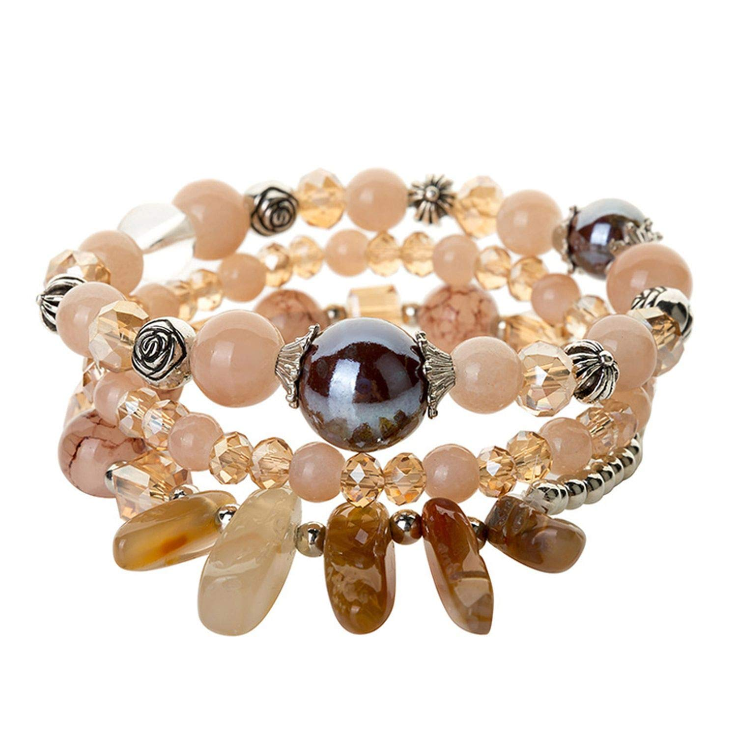 AMBER DAVIDSON Natural Stone Charm Bracelets Crystal Beaded Strand Set Bracelets for Women Fashion Jewelry