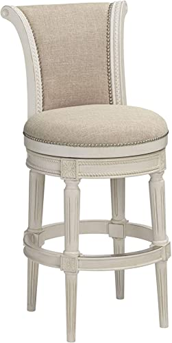Oliver 30 Cream Fabric Scroll Back Swivel Bar Stool – 55 Downing Street
