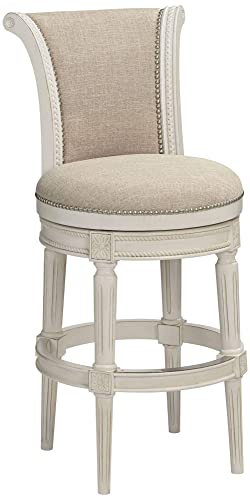Oliver 30 Cream Fabric Scroll Back Swivel Bar Stool