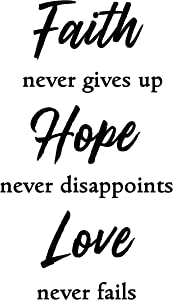 Christian Wall Decal with Inspirational Words. Faith Hope Love Wall Decor Sticker. Uplifting Scripture Wall Art. Religious Home Decoration for Living Room, Bedroom, Bathroom, or Hallway.
