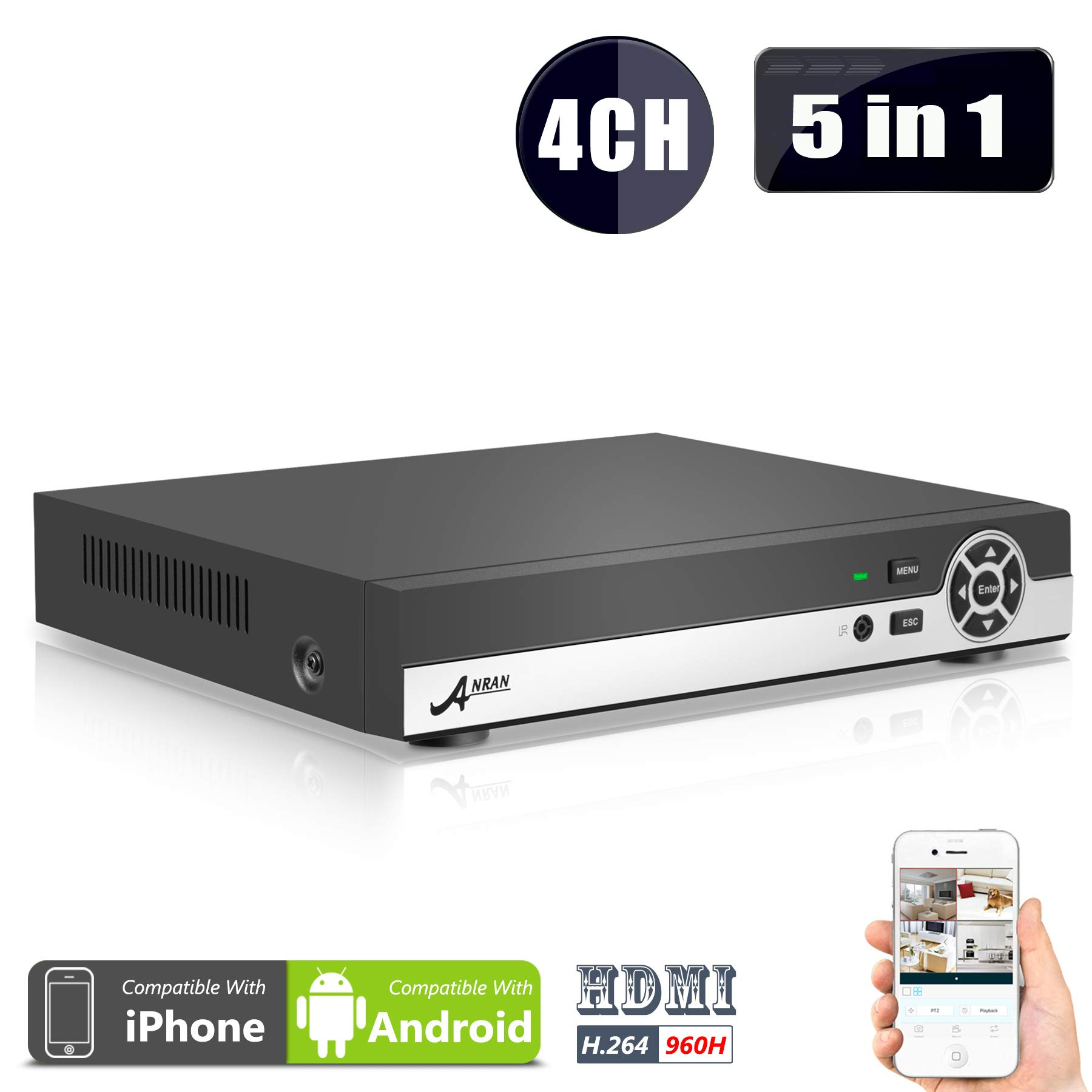DVR 4 Channel,4CH 5 in 1 Security DVR 1080N AHD NVR HD Digital Video Recorder for CCTV Security Camera System Support Mobile Phone Monitoring,Motion Detection,Real time Recording ,No HDD ANRAN