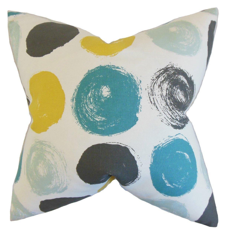 The Pillow Collection Xenophon Geometric Bedding Sham Blue Dot Euro/26' x 26'