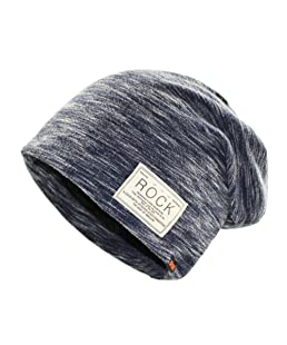 Infgreate Stylish Warm Hat Hip Hop Cap Winter Solid Color Beanie Rock Patch Fleece Lining Casual Men Hat (Navy Blue)