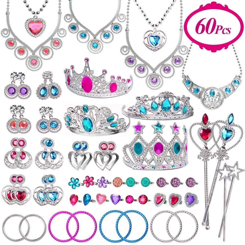 Joinart 60 Pcs Princess Jewelry Toys, Girl Toys Princess Pretend Play Set Girl Jewelry Toys Crown Wand Necklace Bracelet Ring Earring Princess Dress up Birthday Party Favors for Kids Party Supplies by UMIKU