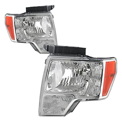 DNA Motoring HL-OH-F1509-CH-AM Headlight Assembly, Driver & Passenger Side: Automotive