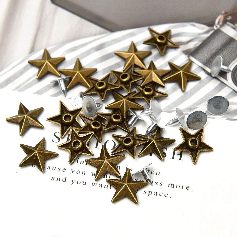 Monrocco 100Pcs 15mm Star Rivets Bronze Rivets Star Studs Metal Claw Beads Nailhead Punk Stud Rivet Spik for Leather