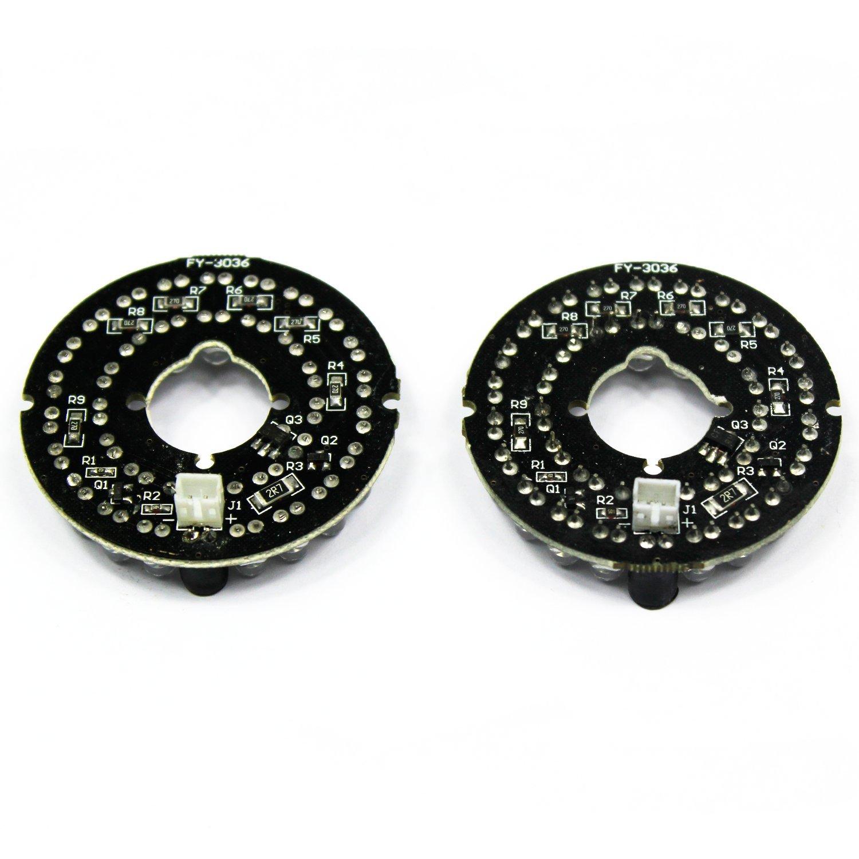 IR Infrarot 36 LED Illuminator Vorstand Platte LED Lampe Foren-Runde f/ür CCTV-CCD-/Überwachungskamera 2-Pack