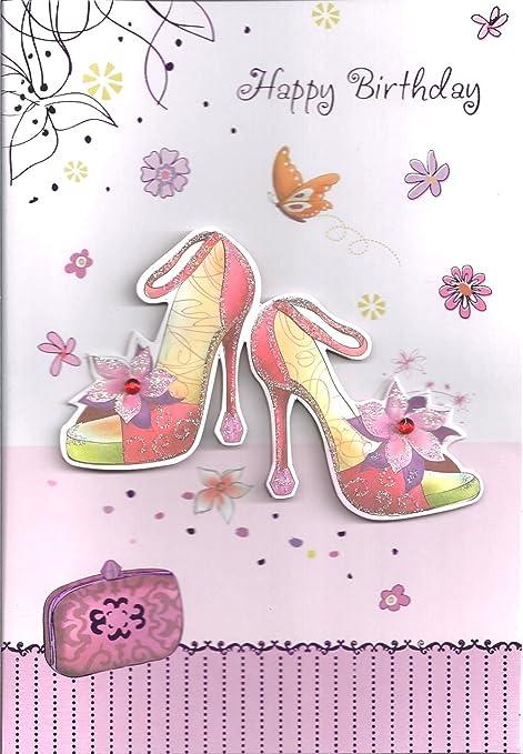scarpe lilla di con mano biglietto Realizzata a tacco alto FUXW1qw