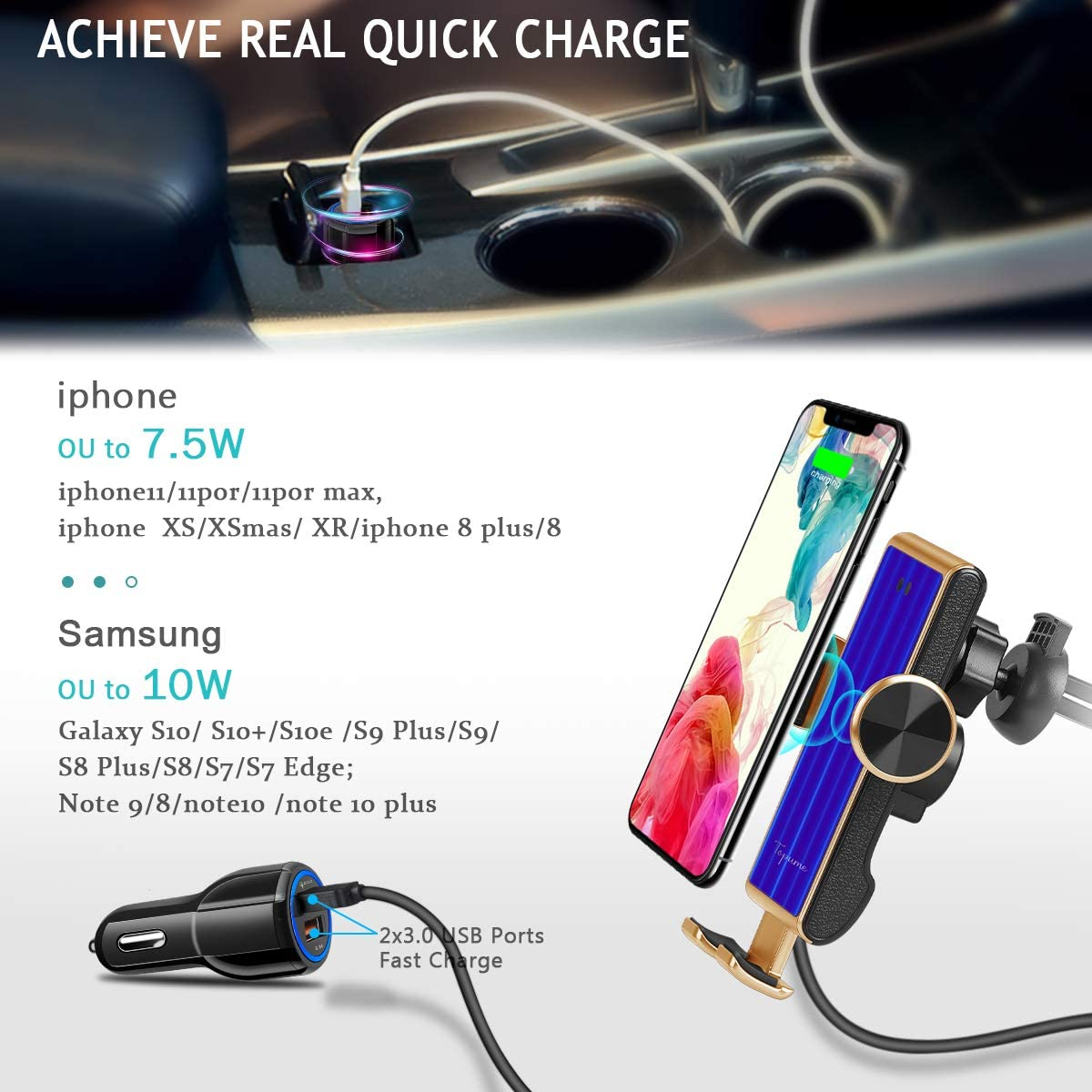 Fast Charging Auto-Clamping Car Phone Holder Mount,Air Vent Holder Compatible with iPhone11//11ProMax//XS//XR//X//8//8+,Samsung S10//S9//S8//Note10//Note9,LG,Huawei,Google Pixel Wireless Car Charger Gold