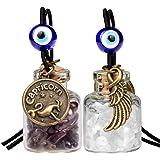 Zodiac Capricorn Angel Wings Small Car Charms Home Decor Gem Bottles Smoky and Quartz Birthstone Amulets
