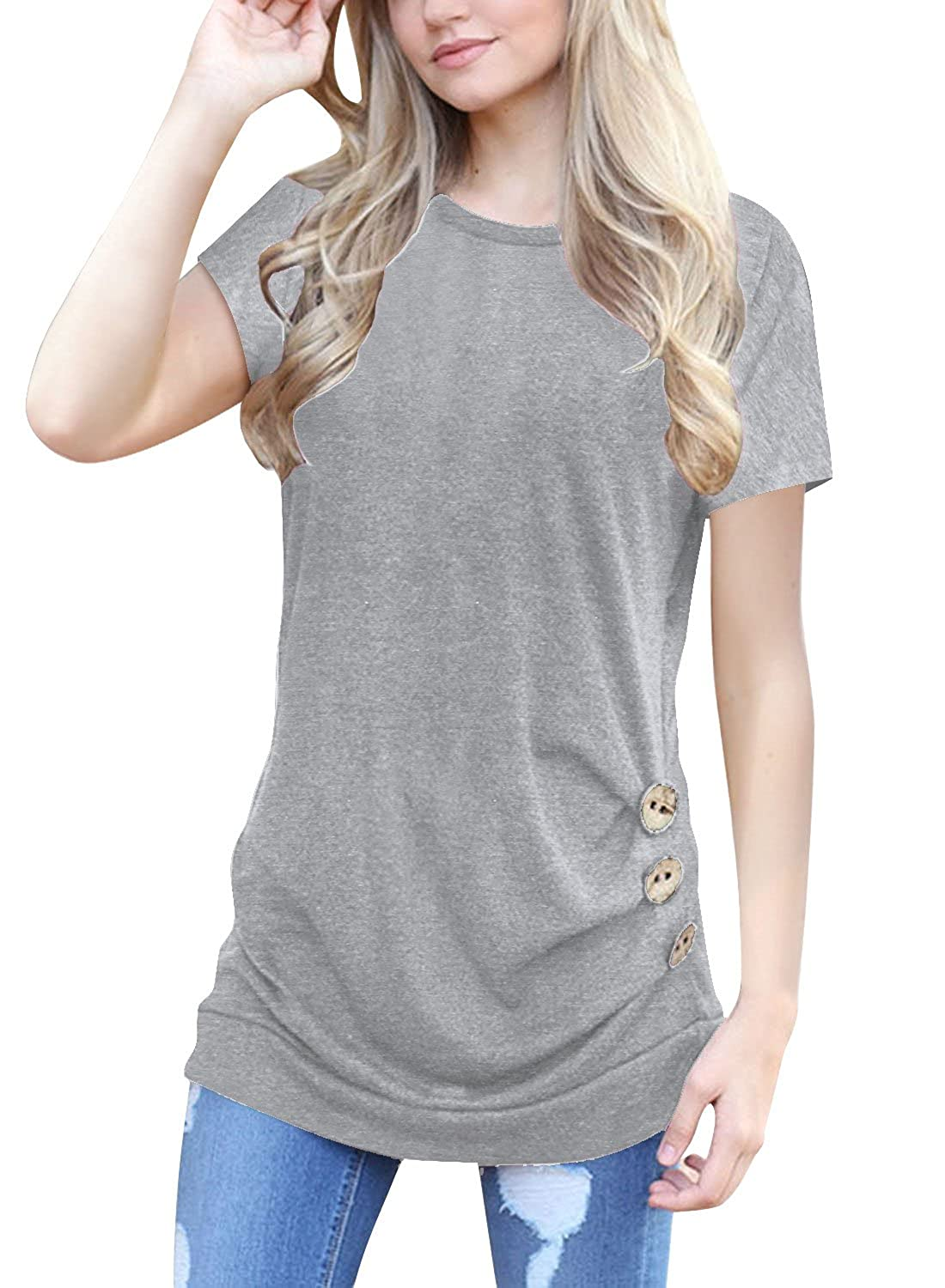 8a31cf33e34 Pull On closure. Womens Shirts: Short Sleeve Shirts For Women O-Neck Casual  Loose Blouse Button Side Tunic Tops,PLEASE CHOOSE ONE SIZE UP IF YOU NEED A  ...