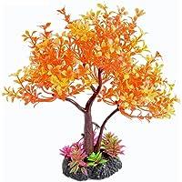 "Saim Artificial Orange Yellow Tree Plastic Plant Decor for Aquarium Fish Tank Bonsai Ornament 8.6"" Height"
