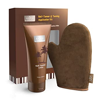 Self Tanner & Tanning Application Kit, Bundle of Dye-Free Natural Sunless Tanning Lotion, 7.8 oz, Application Mitt with Thumb, Body and Face Applicator Glove for Bronzing and Golden Tan