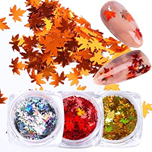 Maple Leaves Glitter Fall Nail Art Sticker Decal 3 Box Holo Maple Leaf Glitters Nail Art Supplies Nail Art Sequins Holographic Glitter Flakes Paillette Chameleon Stickers For Nails Autumn Design Decor