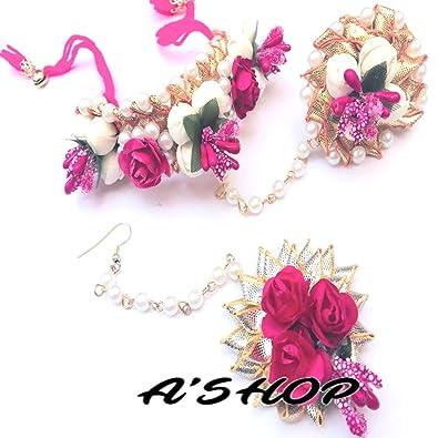 c0538e903 A'SHOP Beautiful Pretty Awesome Rose Floret/Flower Gota Patti, Pearl Moti &  Ring HAATH PHOOL & MANGTIKA Jewellery for Mehandi,Haldi,Marriage,Wedding ...