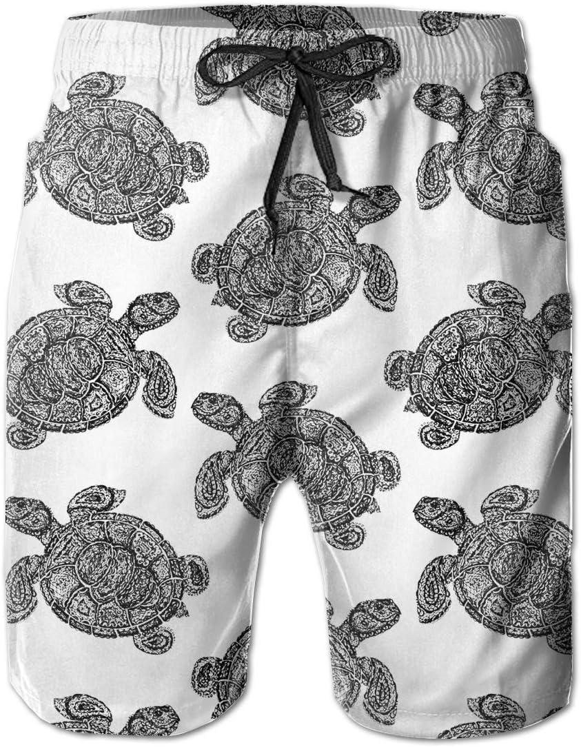 Mens Sea Turtle Shorts Pockets Swim Trunks Beach Shorts,Boardshort
