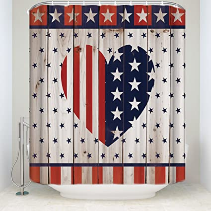 Rustic Country Barn Wood Door Flag Stars With Love Heart NavyRed Shower Curtain 60x72inch