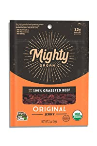 Mighty Organic, Mighty Beef Jerky, Organic 100% Grassfed Beef, Original, 2oz pouch