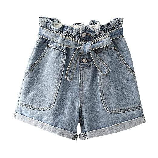 5289ea20bb0 Women's High Waist Denim Shorts Casual Rolled Cuff Jeans with Waist Tie  Pockets, Hot Pants at Amazon Women's Clothing store: