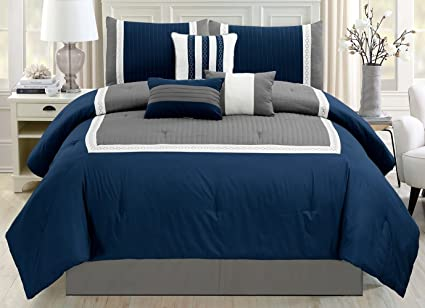 7 Piece Navy Blue/Grey/White Color Block Bed in A Bag Microfiber Comforter  Set King Size Bedding. Perfect for Any Bed Room or Guest Room