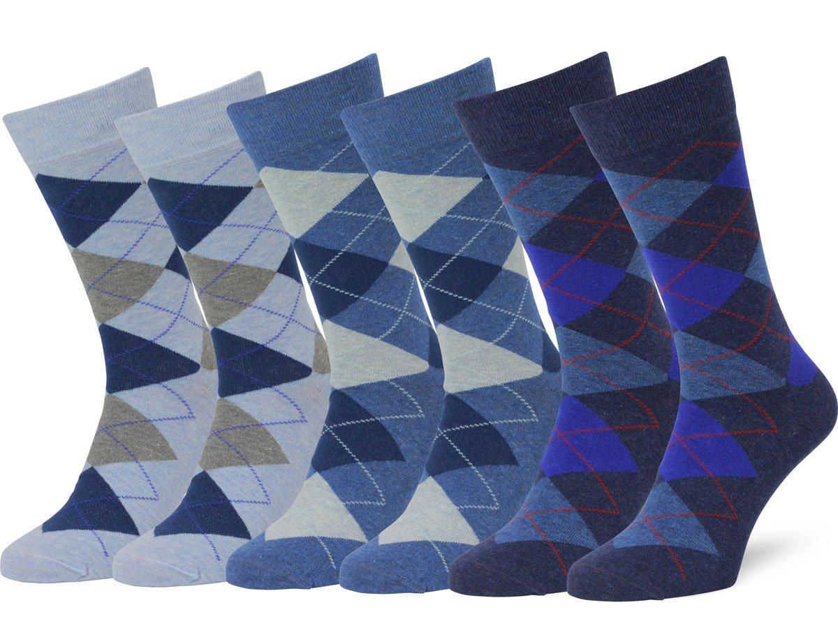 Easton Marlowe Men's Classic Cotton Argyle Dress Socks - 6pk #2-4, Light blue/Denim/Indigo melange - 39-42 EU shoe size
