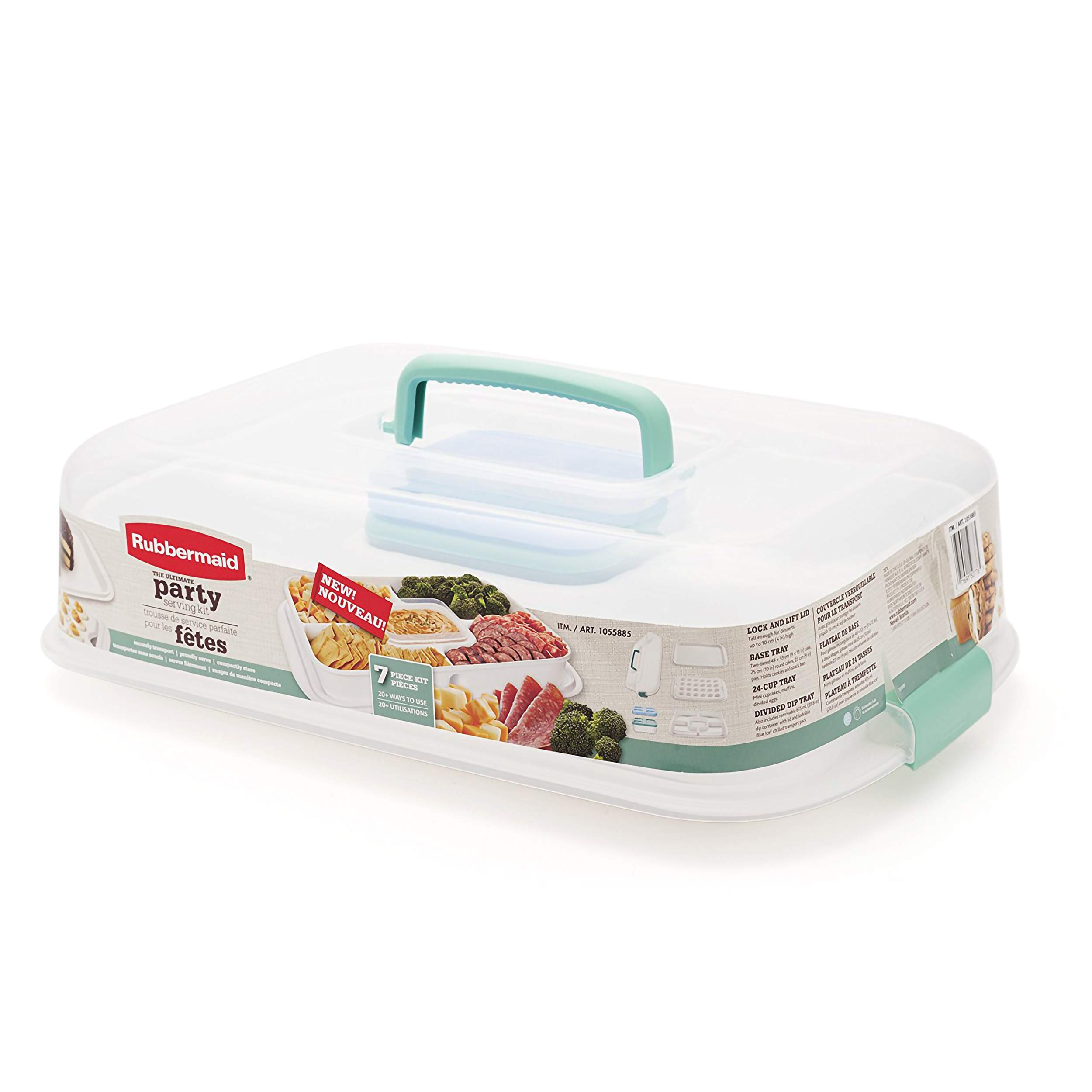 Rubbermaid Ultimate Party Serving Kit, 7-Piece Set, Turquoise