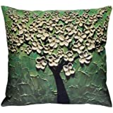 Oil Painting large tree decorate Cotton Linen Throw Pillow Case Cushion Cover Home Sofa Decorative 18 X 18 Inch(3) (Style G)