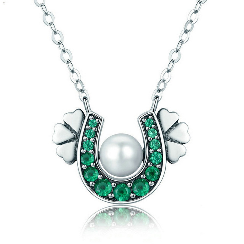 CS-DB Jewelry Silver Horseshoe Green CZ Clover Flower Chain Charm Pendants Necklaces