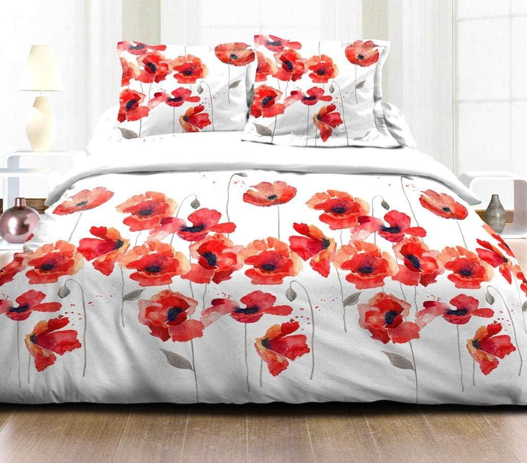 Cflagrant® Funda nórdica doble (220 x 240 cm) y 2 fundas de almohada (65 x 65 cm) - 100% algodón 57 hilos, diseño de amapola roja y negra: Amazon.es: Hogar