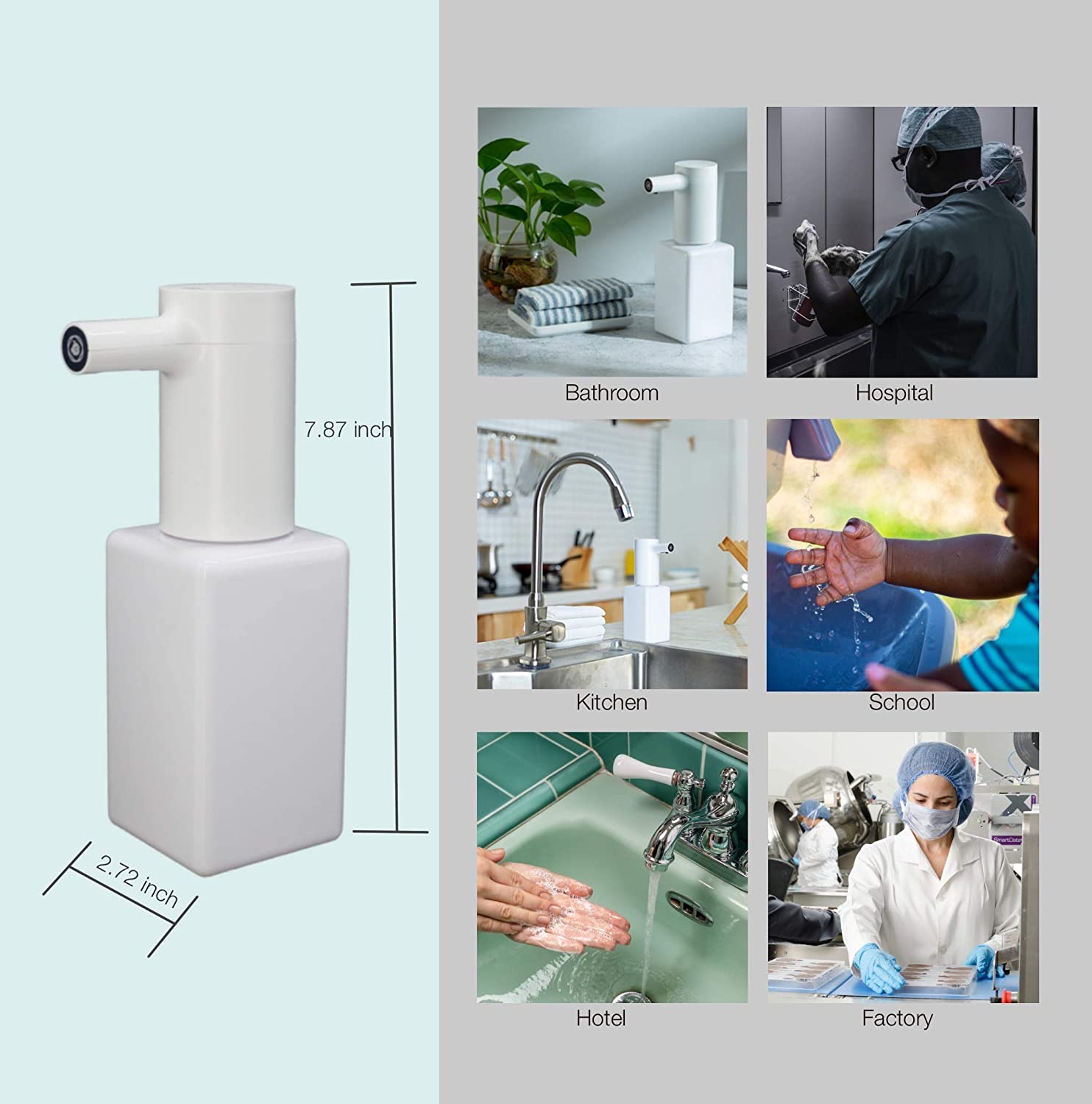 VBLab Automatic Foaming Soap Dispenser White Adjustable USB Charging Infrared Sensor Detection Touch-Free Soap Pump for Kitchen Bathroom Morden Styling Upgraded Waterproof