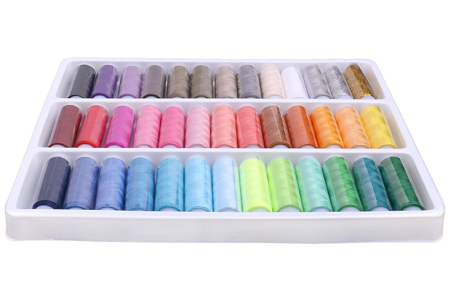 TILY Pack Of 39 Spools Rainbow Assorted Colour Colors Polyester Sewing Thread Box Kit Set Ideal For Quilting Stitching / Hand Sewing / Machine Sewing