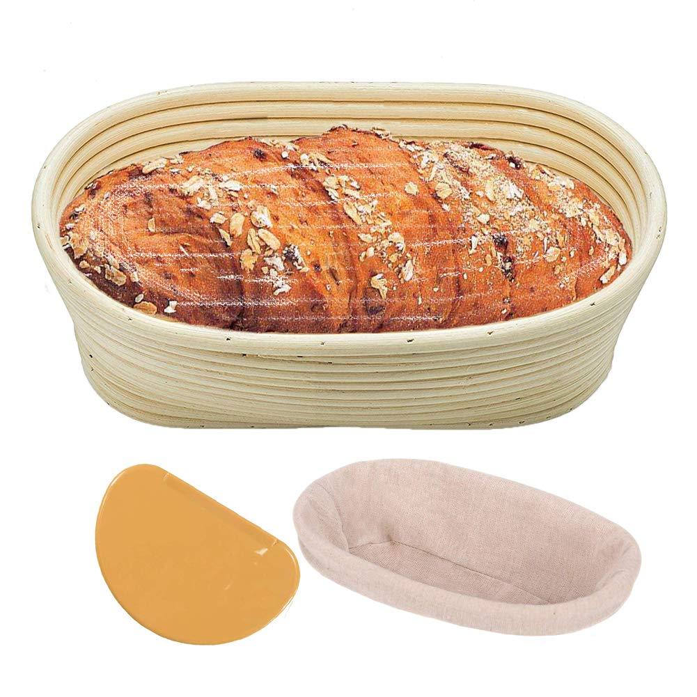 10' Oval Banneton Proofing Basket with Liner Cloth and Scraper for Professional & Home Bakers, Handmade Bread Brotform for Sourdough Rising and Making Dough Loaf Boules PatioMatrix