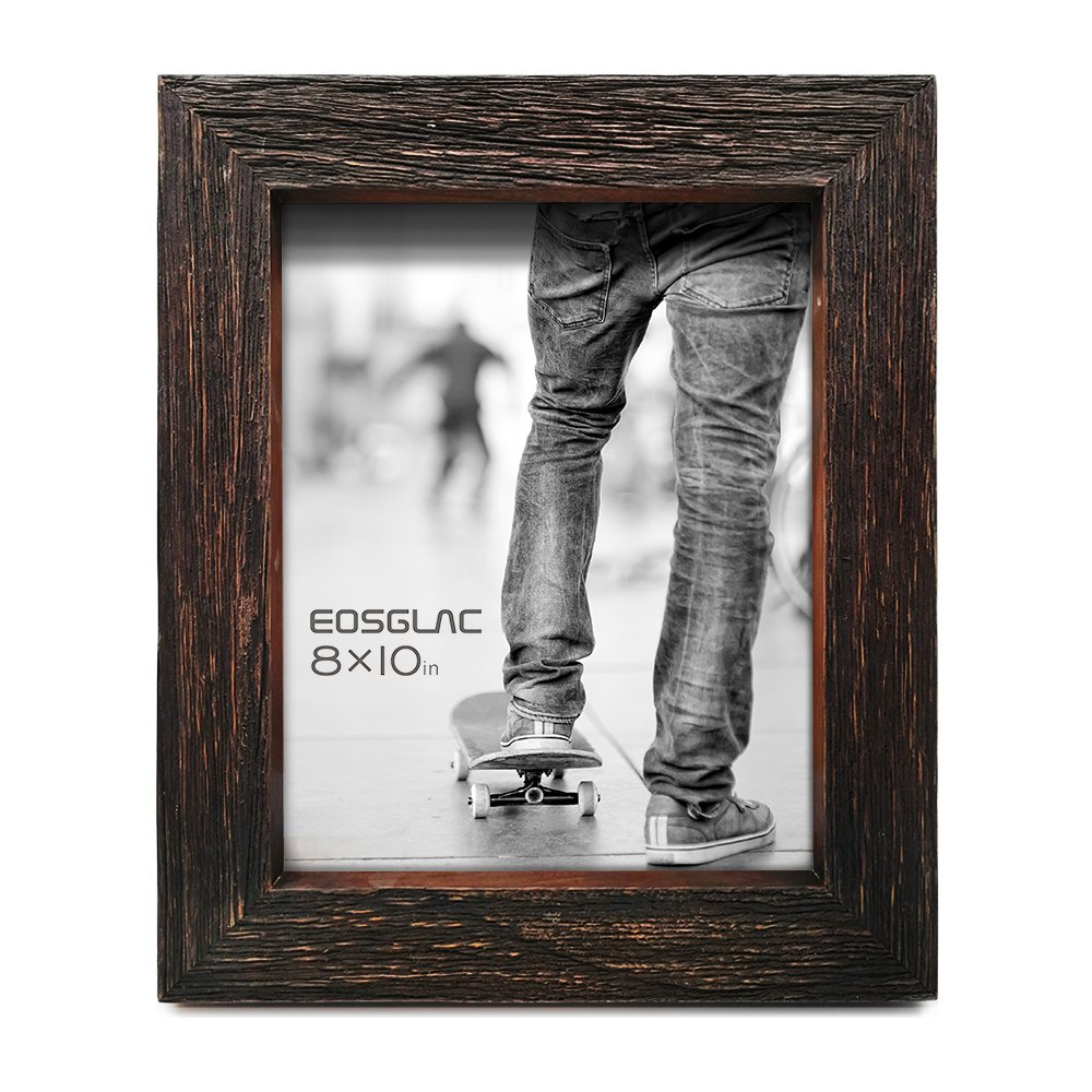 EosGlac 8 x 10 Rustic Picture Frame,8x10 Reclaimed Photo Frame with Shadow Look, Table Display with Easel, Dark Brown