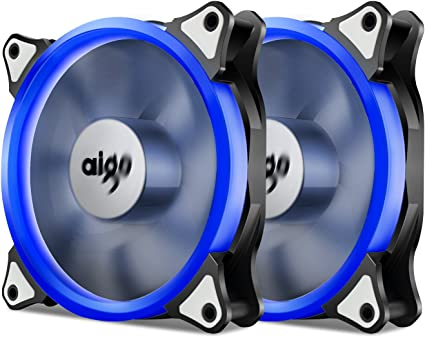 Pack of 5 Aigo 120mm 12cm Halo Ring Neon ORANGE LED Computer PC Case Cooling Fan