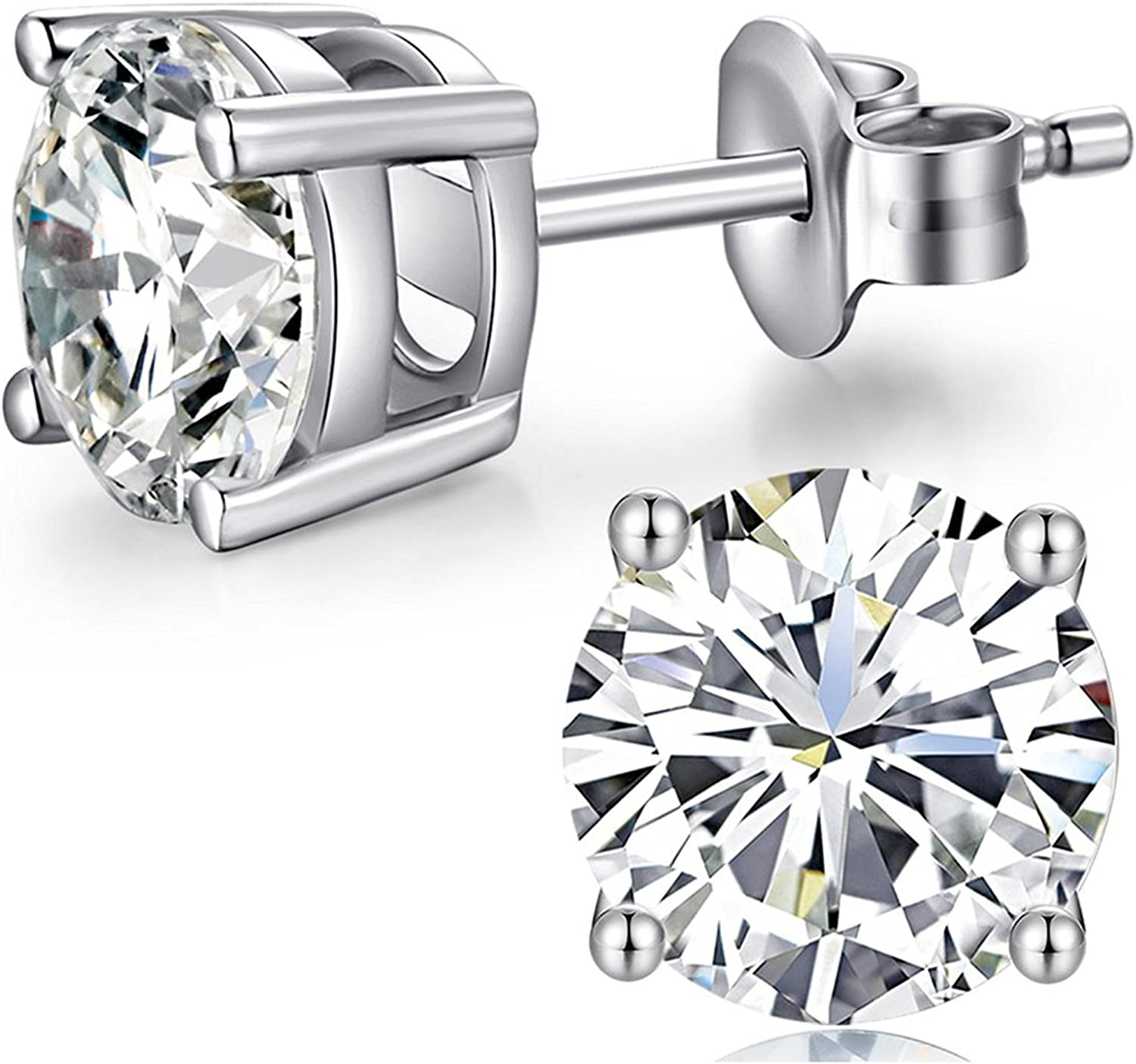 Sterling Silver Stud Earrings with Swarovski Crystal 5-7mm Hypoallergenic Earrings for Women 14K White Gold Plated Simple Chic Studs Earring for Men