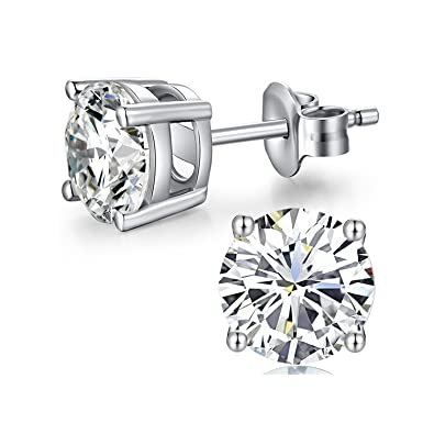 6e5367cfc515 AOBOCO 18K White Gold Plated Hypoallergenic CZ Studs Earrings 925 Sterling  Silver with Cubic Zirconia from