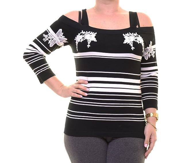 cbe790634e53c Amazon.com  INC Womens Cold Shoulder Embroidered Casual Top B W L ...