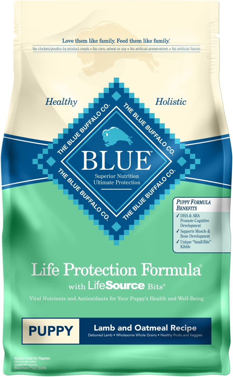 Blue Buffalo Life Protection Formula Natural Puppy Dry Dog Food, Lamb and Oatmeal 6-lb