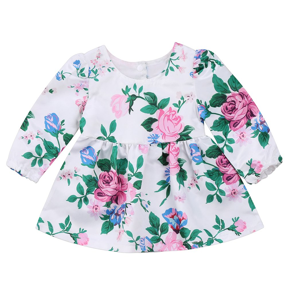 Annvivi Baby Girls Dusty Rose Floral Tunic Long Sleeve Top